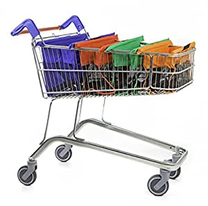Trolley Bags Express Vibe Reusable Grocery Shopping Cart Carrier (Set of 4) - Large Eco-Friendly, Collapsible and Machine Washable
