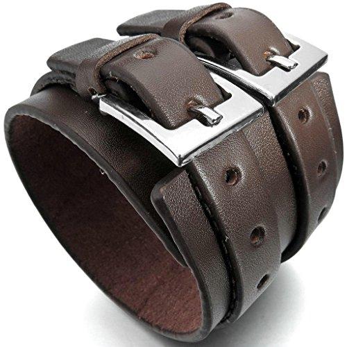Bali Silver Bracelet Watch (Epinki, Men's Alloy Genuine Leather Bracelet Bangle Cuff Silver Brown Cord Biker Adjustable Fit 7~9 inch)
