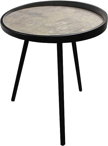 Meubletmoi Table Basse Ronde Decor Effet Beton Et Pieds Metal