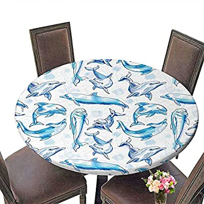 "Cheery-Home Spring & Summber Tablecloth (Elastic Edge) Suitable for All Occasions, (29.5"" Round) Sea Animals Decor Sketch of Bottlenose Dolphins Playing Laughing in Ocean Life Print Turqouise White."