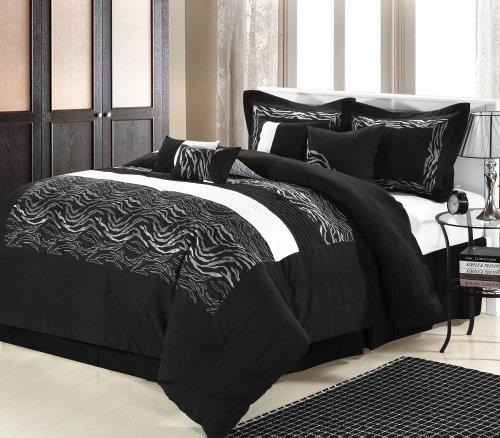 (Chic home Zebra 8-Piece Embroidered Comforter Set, Black Queen )