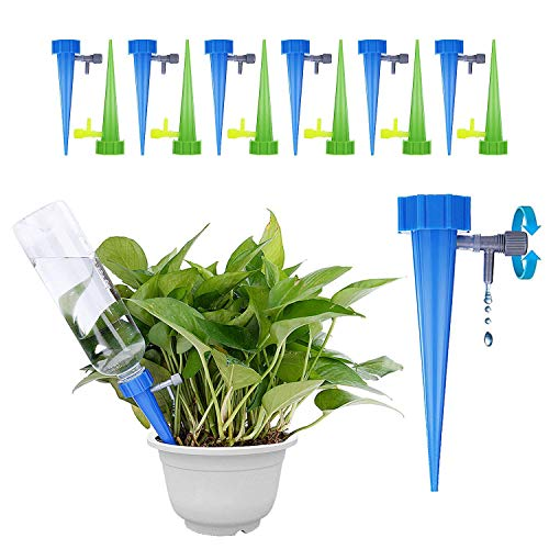 GiftedMary Plant Self Watering Spikes Devices Vacation Plant Waterer Stakes With Automatic Dripper Slow Release Valve Care Indoor Outdoor Home Office Plants 12 Pack by GiftedMary