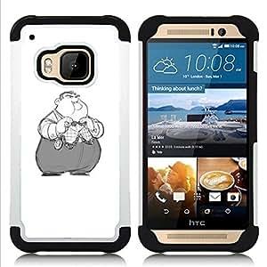 """HTC One M9 /M9s / One Hima - 3 en 1 impreso colorido de Altas Prestaciones PC Funda chaqueta Negro cubierta gel silicona suave (Nixon Obeso niños de dibujos animados"""")"""