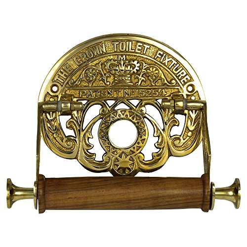 Old English Brass Toilet Tissue Holder - The Crown Toilet Fixture English Style Brass Toilet Paper Holder old style Replica