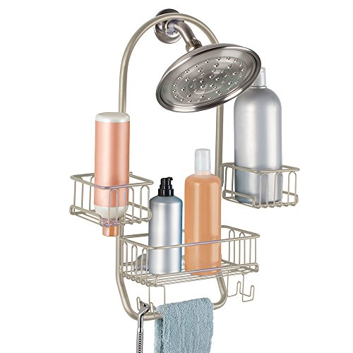 mDesign Swing Bathroom Shower Caddy for Tall Shampoo, Conditioner, Soap Bottles - Satin