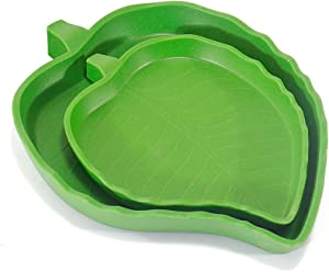 EONMIR 2 Pack Leaf Food Water Bowls for Baby Tortoise or Small Reptiles, 2 Sizes
