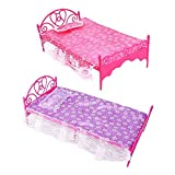Ameesi 1PC Plastic Miniatures Bedroom Home furniture Single Bed for Barbie Plaything Dollhouse