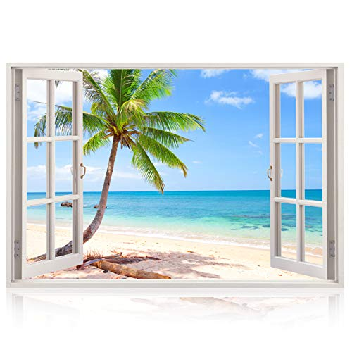 Realistic Window Wall Decal – Peel and Stick Nautical Decor for Living Room, Bedroom, Office, Playroom – Beach Wall Murals Removable Window Frame Style Ocean Wall Art – Vinyl Poster - For Theme Wallpapers Beach Walls