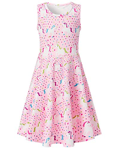 RAISEVERN Girls Aline Skirt Dress Kawaii Casual Unicorn Horse Sundress 3D Printed Crew Neck Sleeveless Summer Swing Tank Dresses for Basic Daily Playwear Size 8-9 Pink