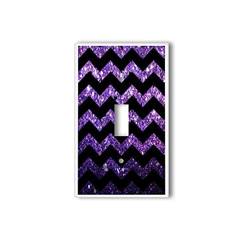 Light Switch Single Wall Plate Cover By InfoposUSA Black Chevron Purple Glitter