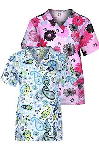 MedPro Women's Printed Wrap Neck Medical Scrub Top Multi Pack ASTD:Green,Pink L