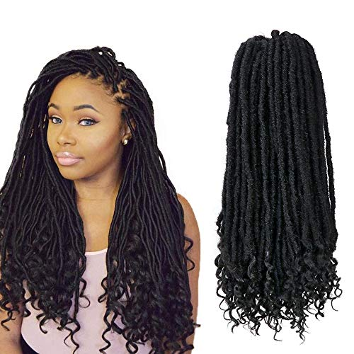 6 Pack Straight Faux Locs Crochet Hair Goddess Locs Crochet Braiding Hair Extension with Curly Ends Natural Soft Synthetic Hair (20
