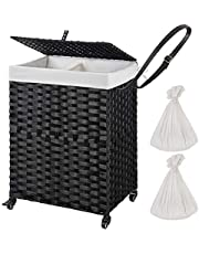 Greenstell Laundry Hamper with Wheels & 2 Removable Liner Bags, Divided Handwoven Hamper, Synthetic Rattan Clothes Laundry Basket with Lid & Handles, Foldable & Easy to Install