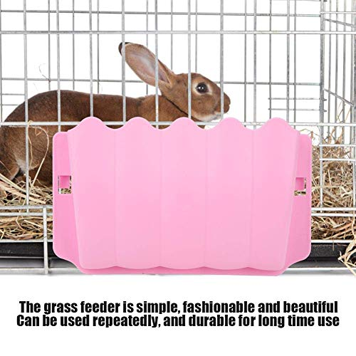 - Zafina-UP Rabbit Hanging Feeder Bowl Hay Grass Holder Box Carrot Guinea Pig Hamster Rat Small Animal Cage Feed Dispenser Toy (Pink)
