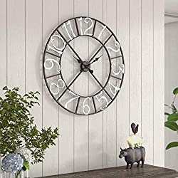 Oversized Metal Wall Clock X-Large Sceleton Wall Clok Cotagge Style Battery Operatted Home Office Living Room Decoration Gifts