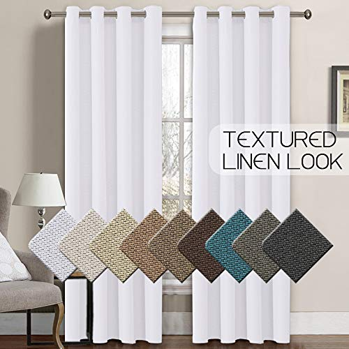 Linen Curtain White Thermal Insulated Grommet Room Darkening Rich Linen Curtains Window Treatment Panel for Bedroom Burlap Textured Linen Curtain for Living Room, Pure White, 52 by 96 Inch (1 - Panels Opaque