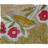 DENY Designs Cori Dantini Sweet Meadow Bird Fleece Throw Blanket, 50 x 60