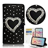 STENES Moto Z3 Case - Stylish - 3D Handmade Bling Crystal Heart Design Magnetic Wallet Credit Card Slots Fold Stand Leather Cover for Motorola Moto Z3 - Black