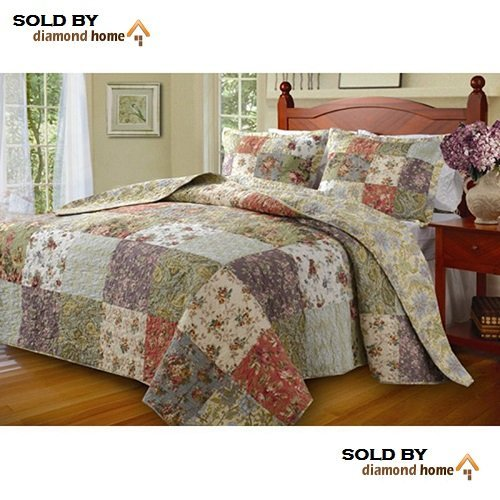 3 Piece Oversized King Bedspread Set to The Floor, 120 X 118 Inches, Country Cottage Patchwork Quilt, Floral Squares Pattern, Lavender Coral Rose Ivory White Green Blue,Beautiful - 118 120 Oversized X Quilt