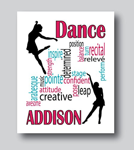 Personalized Dance Gifts For Girls, Dance Gifts For Teen Girls, 8x10 or 11x14 Dance Print Only, Dance Decor For Girls Room by Mdesign LLC