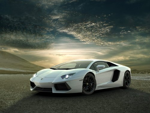 Lamborghini Aventador White Supercar Car Print Poster