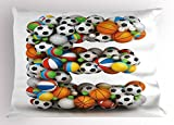 Ambesonne Letter E Pillow Sham, ABC of Sports Concept Different Gaming Balls First Name Initial Monogram Design, Decorative Standard Queen Size Printed Pillowcase, 30 X 20 inches, Multicolor
