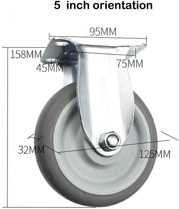 Color : Orientation, Size : 5 inch4 pieces MUMA 4pcs 3-inch Stainless Steel Silent Furniture Caster 4-inch Rubber Shelf Casters 5-inch Industrial Mechanical Equipment Wheel