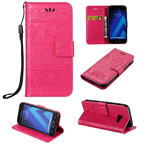 Price comparison product image IVY Imprint Technology Wallet Case Galaxy A3 (7) Case With Elephant Tribe and [Kickstand][Wrist Strap] For Samsung A3 SM-A320 2017 - Hot Pink