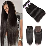 Flady Brazilian Straight Hair 3 Bundles with Middle Part Closure Unprocessed Virgin Human Hair Bundles with 4×4 Lace Closure Natural Black Color (22 24 26+20) For Sale