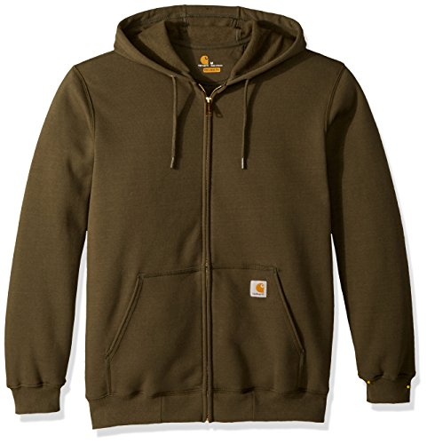 Quilted Hooded Zip Sweatshirt - Carhartt Men's Midweight Hooded Zip-front Sweatshirt, moss X-Large