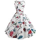 Swing Dress,Han Shi Women Elegant Sexy Tea Floral Print Vintage Dress Ball Gown (White, M)