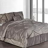 Hudson Street Plush Complete Comforter Set, Pintuck, Queen, Silver