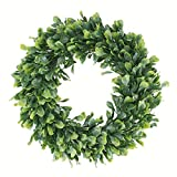 Geboor Faux Boxwood Wreath, 15' Artificial Green Leaves Wreath for Front Door Hanging Wall Windows Decoration Holiday Festival Wedding Decor