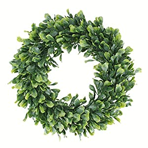 "Geboor Faux Boxwood Wreath, 15"" Artificial Green Leaves Wreath for Front Door Hanging Wall Windows Decoration Holiday Festival Wedding Decor 83"