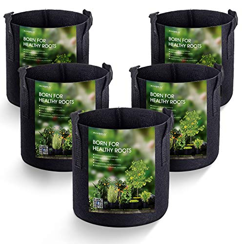 MAXSISUN 5-Pack 1 Gallon Plant Grow Bags, Heavy Duty Thickened Non-Woven Aeration Fabric Pots Container with Reinforced…