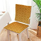Mikihome 2 Piece Set Chair pad Checked Squares with Ornamental Details Apricot Garden Patio Home Chair Cushions Mat:W17 x H17/Backrest:W17 x H36