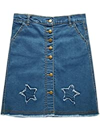Girls' Botton Front Cut-Off Denim Skirt A-line Short Jeans Skirt