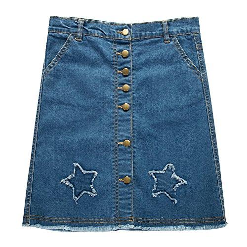 UNACOO Girls' Botton Front Cut-Off Denim Skirt A-line Short Jeans Skirt (Blue/Star, m(7-8T))