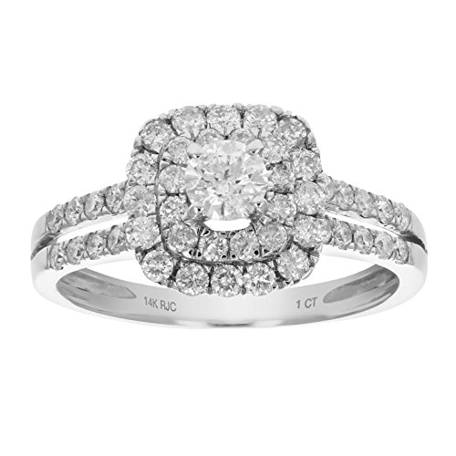 (1 CT Diamond Engagement Ring 14K White Gold Size 7)