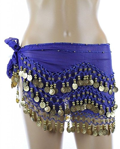 PEARL Plus Size XL Chiffon Belly Dance Hip Scarf Wrap Belt Tribal Sash Skirt Gold Coins - Royal (Belly Dancing Costume Hip Scarf)