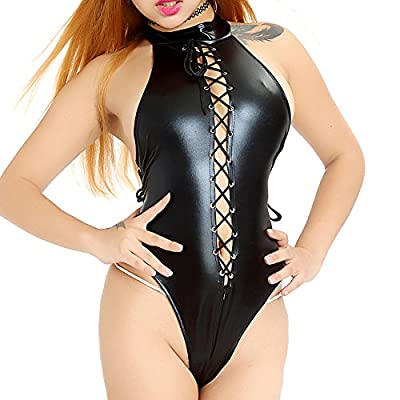 TEMPT Women's Sexy Teddy Lingerie Faux Leather Wet Look Strappy Crotchless Clubwear Jumpsuit Black