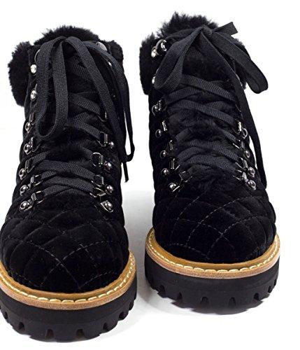 LOLA CRUZ Damen Samt Boots mit Fell Negro