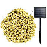 Image of Lalapao Solar String Lights 72ft 22m 200 LED 8 Modes Solar Powered Waterproof Starry Christmas Fairy String Lights for Outdoor Gardens Path Homes Wedding Holiday Party Decoration (Warm White)