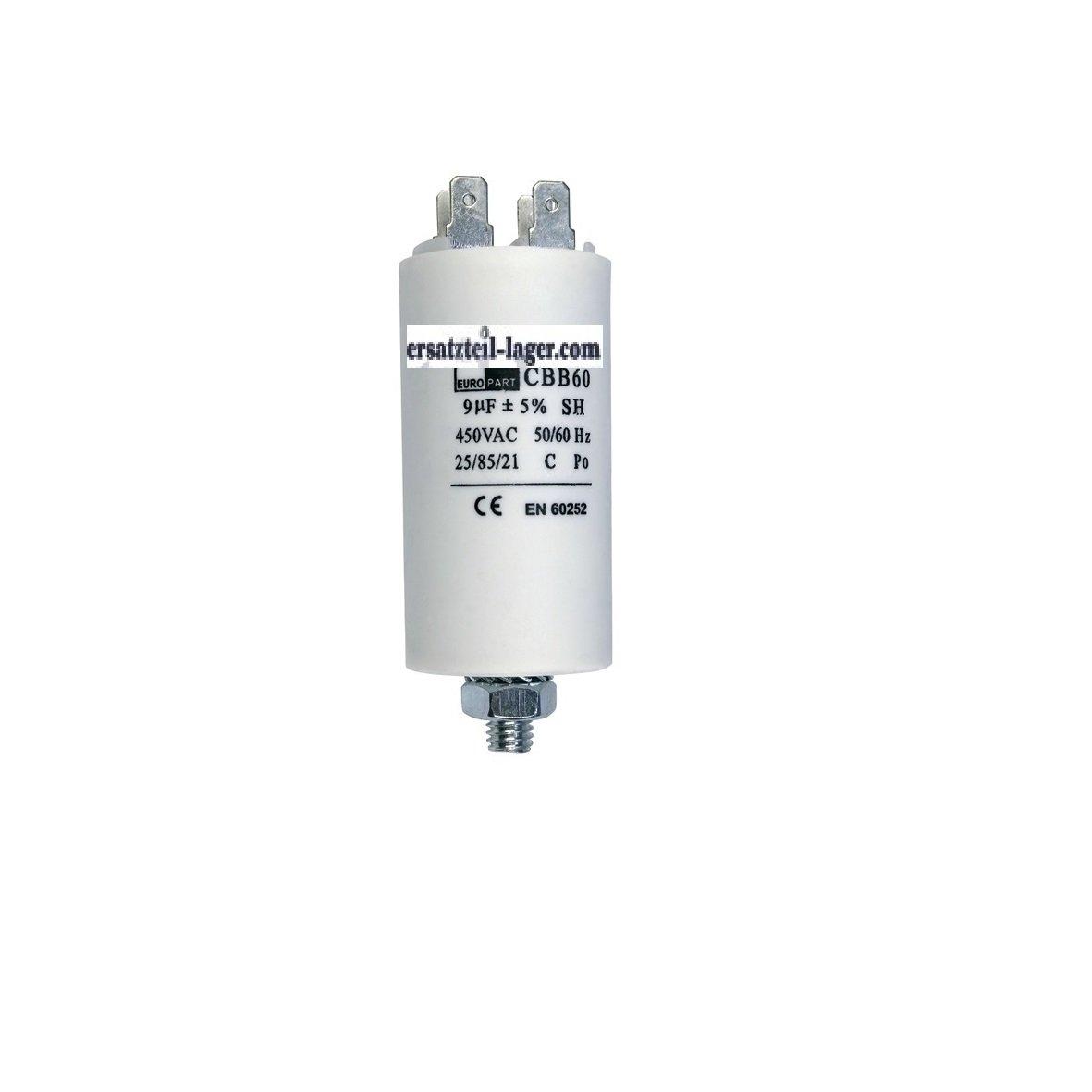 Kondensator Anlaufkondensator Motorkondensator 9 µF 450V mit AMP-Steckfahnen