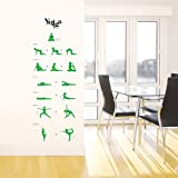 Reusable Decoration Wall Sticker Decal - Instructional Yoga Poses Stance