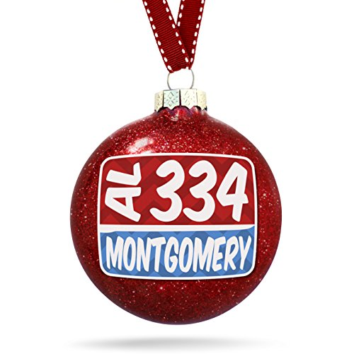 Christmas Decoration 334 Montgomery, AL red/blue - Al Montgomery Glass