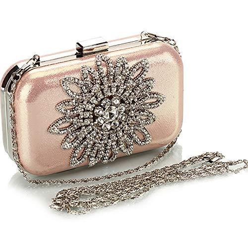 Rhinestone Purse with Clutches Bagood Women Wedding Evening Bags Pink Bag Clutch Party Flower UwY6q