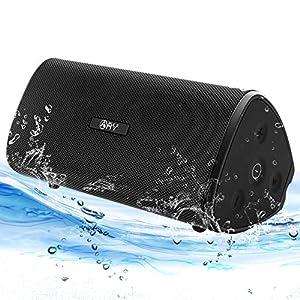 Enceinte Bluetooth 4.2 Portable AY étanche 30W Haut-Parleur Audio HD Basses Amplifiées,Technologie TWS, Autonomie 24H, étanchéité IPX7, Idéal la Maison, Camping,l'extérieur Les Voyages.(Black) 1
