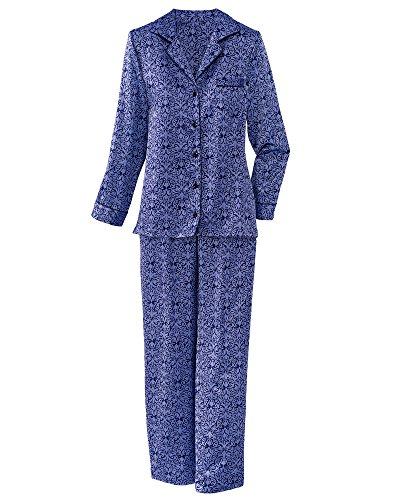 Brushed Back Satin Pajamas (Carole Hochman Satin Print Pajamas, Purple Print, Medium)