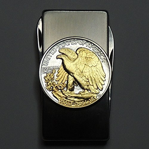 Old  U.S. Walking Liberty (Eagle side) half dollar - Gorgeous 2-Toned (Uniquely Hand done) Gold on Silver Coin - Combination Knife and scissor Money clip by J&J Coin Jewelry